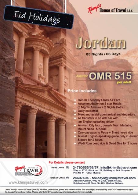 Visit Jordan at OMR 515 per Adult
