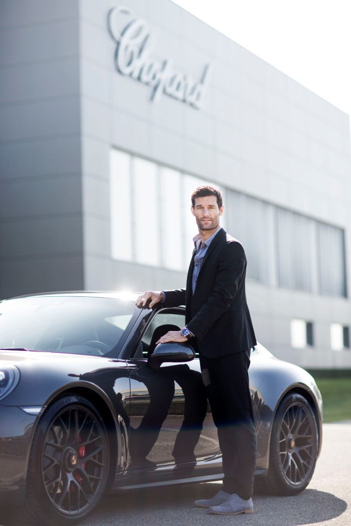 Mark Webber in front of the Chopard Manufacture ¬Johann Sauty-Chopard