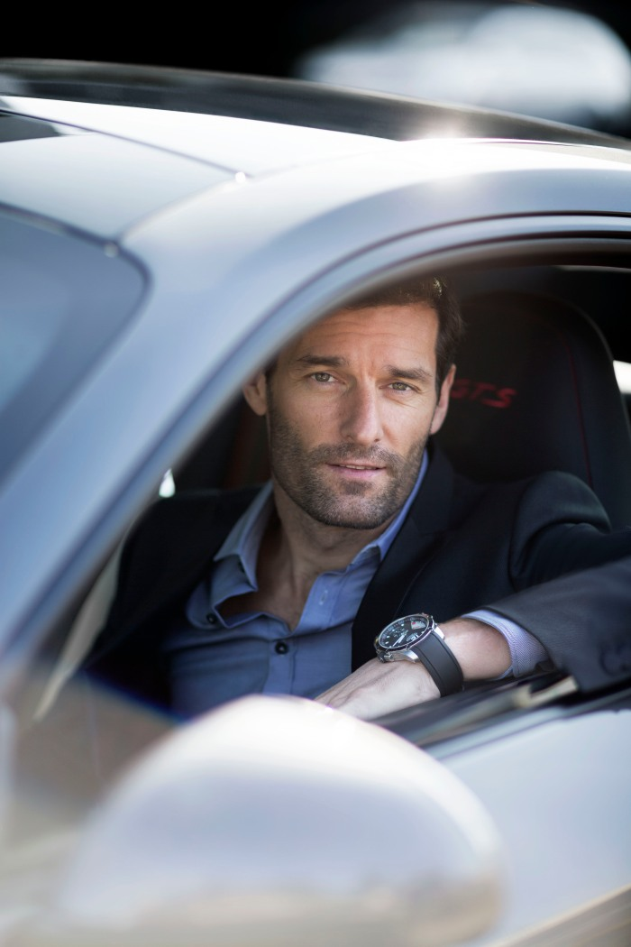 Mark Webber wearing the Superfast Power Control ¬JohannSauty-Chopard